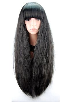 eNilecor Long Curly Fluffy Healthy Full Wigs with Neat Bangs for Women Ladies Heat Resistance Cosplay Wig Party Costume Cosplay Wigs (Black) eNilecor http://www.amazon.com/dp/B00XKU265E/ref=cm_sw_r_pi_dp_UsAxwb1D8KD33
