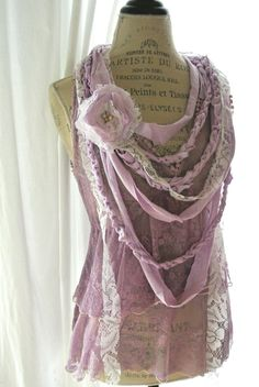 Romantic rag bib necklace, gypsy rose statement necklace, fabric necklace, boho chic jewelry, bohemain necklace, lilac, beach. $50.00, via Etsy.