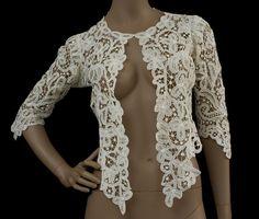 Battenberg lace trained skirt & jacket, c.1905