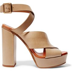 Chloé Leather platform sandals (3 235 SEK) ❤ liked on Polyvore featuring shoes, sandals, heels, pumps, ankle wrap sandals, ankle strap sandals, beige high heel sandals, platform heel sandals and platform sandals