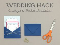 How-to turn envelope into wedding invitation pocket | Download & Print