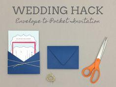 How-to turn envelope into wedding invitation pocket | Download & Print