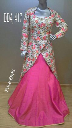 Tradition combined with trend. Indo-western Frock Customized partywear gowns Choices on fabric, design and size is available. Designer Party Wear Dresses, Kurti Designs Party Wear, Lehenga Designs, Kurta Designs, Blouse Designs, Long Gown Dress, Saree Dress, Lehenga Suit, Stylish Dresses For Girls