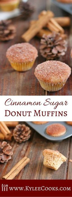 A delicious little cross between a donut and a muffin - these Cinnamon Sugar Donut Muffins are sweet, fluffy and. Yummy Treats, Delicious Desserts, Sweet Treats, Yummy Food, Muffins Blueberry, Zucchini Muffins, Cherry Muffins, Zucchini Pizzas, Brunch Recipes