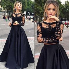 Long Sleeve Lace Prom Dress, Two Piece Prom Dress with Lace Appliques, Black Crop Top Formal Evening Dress, #020102335