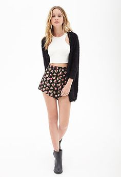 Watercolor Floral Woven Shorts | FOREVER21 - 2000083527