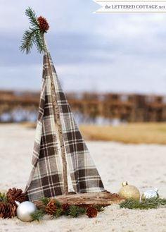 driftwood Christmas boat