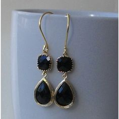 Black Crystal Earrings Black and Gold Dangle by PeriniDesigns via Polyvore