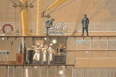 Secció longitudinal del vapor Reina Victòria Eugènia. Cuina, coberta. Primera meitat s. XX. Autor desconegut. 10351 MMB