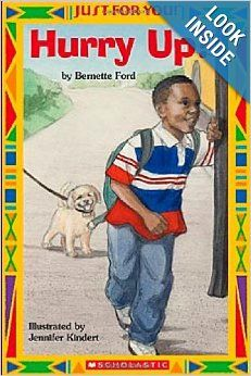 Read this beginning reader book as a boy hurries through his day.
