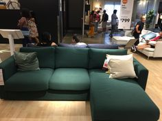 IKEA sofa with chaise w/storage vimle gunnared dark green
