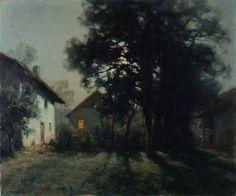 François Charles CACHOUD (1866-1943). Village au clair de lune (Saint-Alban de Montbel - Savoie). Peinture Lyonnaise - rambert