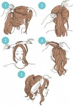 15 Sencillos peinados que te harán lucir con estilo y puedes hacerte rápidamente Cute Bandana Hairstyles, Hairstyles For Short Hair Easy, Cute Everyday Hairstyles, Braided Hairstyles Updo, Style Hairstyle, Quick Hairstyles, Pretty Hairstyles, Stylish Hairstyles, Hairstyle Ideas