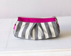 Stripe Makeup Bag  , Cosmetics Case In Cotton Canvas And Pink Leather