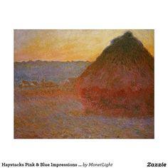 Haystacks Pink & Blue Impressions Monet Fine Art Poster