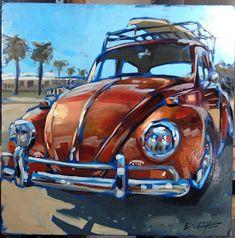 Darren Love ~ Artist Volkswagen, Bus Art, Vw Vintage, Train Car, Car Painting, Vw Beetles, Art Cars, Love Art, Art Blog