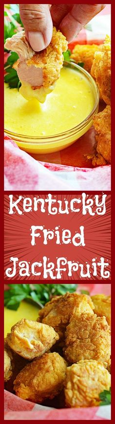 Vegan Kentucky Fried Jackfruit with dipping sauce - this one is a must-try! It uses very little oil to fry, but if you have an air-fryer - virtually oil-free. Super tasty and crunchy on the outside and the jackfruit stays tender. Veggie Recipes, Whole Food Recipes, Vegetarian Recipes, Cooking Recipes, Healthy Recipes, Air Fryer Recipes Vegan, Pasta Recipes, Vegetarian Dinners, Fruit Dip Recipes
