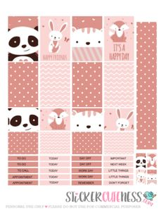 Free Printable Happy Friends Planner Stickers from StickerCuteness
