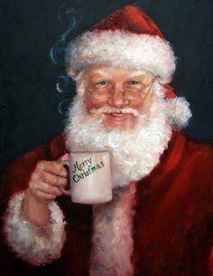 Santa wtih a Mug (by Mary Miller Veazie)