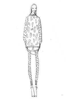 Fashion Sketch - black & white fashion illustration of DKNY outfit http://www.pinterest.com/merciduran/