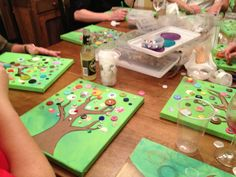 Vintage Button Tree - Art Party, kimberly santiago art.: (minus the drink...)