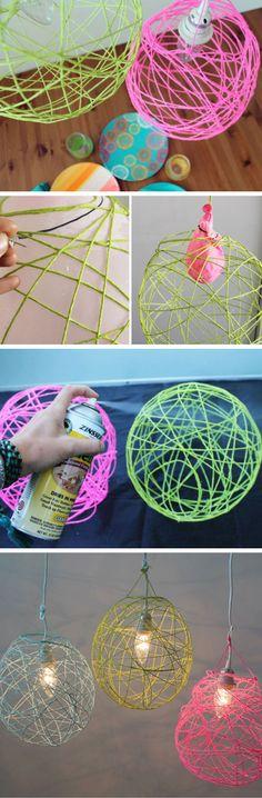 Illuminated Yarn Lanterns | 24 DIY Teenage Girl Bedroom Decorating Ideas