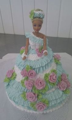 Awesome!!!!! Barbie Birthday Cake, Barbie Cake, Barbie Dress, Princess Birthday, Baby Doll Cake, Doll Cakes, Cooking Cake, Dress Cake, Disney Cakes