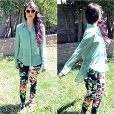 OOTD | H Floral Pants, Lush Blouse With Shirt Tail, Quay Eyeware Sunnies & Purple Ombre Hair :)