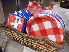 Basket with plates & napkins for pick up foods.
