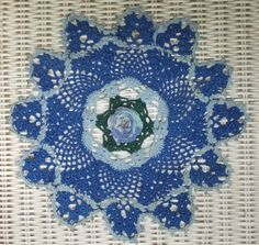 Vintage Hand Crochet Shades of Blue & White Ruffled Rose Petal Lace Doily by CindysCozyClutter on Etsy