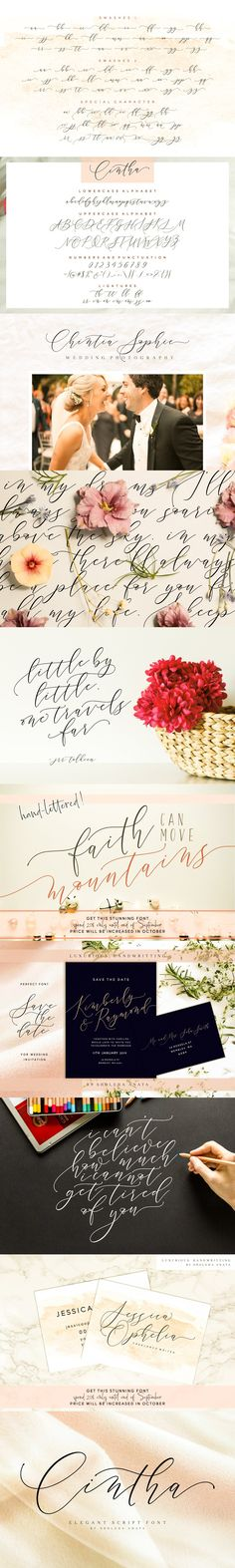 This font was made inspired by the requests of my friends who asked me to make their wedding invitation in the wedding one day. Cintha is a modern calligraphy Calligraphy Fonts, Modern Calligraphy, Lettering, Elegant Fonts, International Symbols, Uppercase And Lowercase Letters, Types Of Printing, Have A Beautiful Day, Cool Fonts