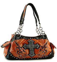 Orange Rhinestone Cross Handbag - Handbags, Bling & More!
