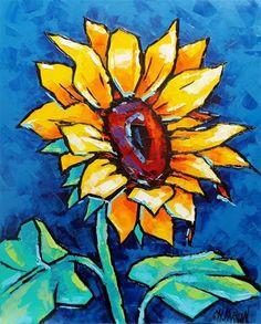 "Daily Paintworks - ""Sunflower"" by Christine Karron"