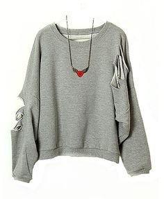 Loose Cut Out Sweatshirts with Batwing Sleeves Design  http://www.chicnova.com/loose-cut-out-sweatshirts-with-batwing-sleeves-design.html