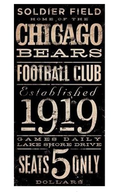 Chicago Bears Football club typography original graphic art on canvas 18 x 36 x by stephen fowler. Chicago Bears, Chicago Blackhawks, Nfl, Typography Letters, Lettering, Bears Football, Football Stuff, Baseball Stuff, Football Players