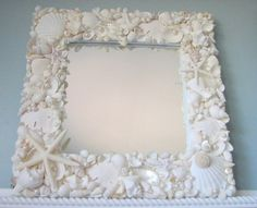 diy shell framed mirror would be cute for her vanity...could be a project we do together!