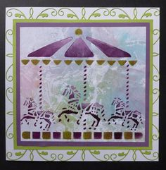 """'Carousel Ride' card. - Imagination Craft's - Inkadinks. 'Carousel' stencil.7"""" square white card. Stencil brush. White Gesso. Lime green and Rose stencil paints."""