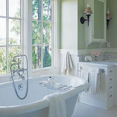 Mint green and white bathroom, soothing...