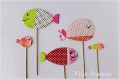 Marionetas de peces hechas con whasi tape / Whasi tape fish puppets