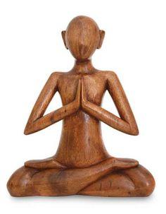 Wood sculpture, 'Meditating' by NOVICA