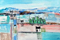 Original Acrylic Painting - LANDSCAPE AND COTTAGES  6  X 4