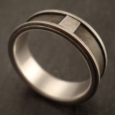 Men's Wedding Ring - Sterling Silver and Inlaid Titanium Band. $275.00, via Etsy.