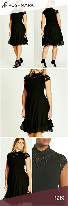 """""""Princess"""" Lace Overlay Dress Gorgeous black fit & flare dress features fitted bodice, lace cap sleeves, high cut neckline with lace cut out detailing, invisible back zipper,  lined knee length chiffon overlay skirt   Color: Black  Material: 100% polyester  Measurements: see size chart above City Chic Dresses"""