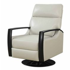 Cosmopolitan Recliner Swivel Leather Off White