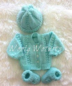 Darren Knitting Pattern~DK & to 3 months Free Newborn Knitting Patterns, Baby Booties Knitting Pattern, Baby Sweater Patterns, Knit Baby Sweaters, Baby Hats Knitting, Baby Patterns, Baby Knits, Knitted Baby, Free Knitting