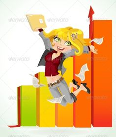 Business Lady Jumping with Joy