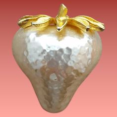 Big Fat White Strawberry Brooch J.J. Jonette Jewelry Unusual Pin