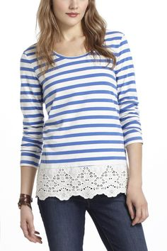 Idea for lengthening shirts---Skirted Striped Tee - Anthropologie.com