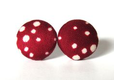 """These handmade stud earrings in carmine red with white dots are made according to """"reduce reuse recycle"""" spirit, since they are made of leftover fabric.  $8.90"""