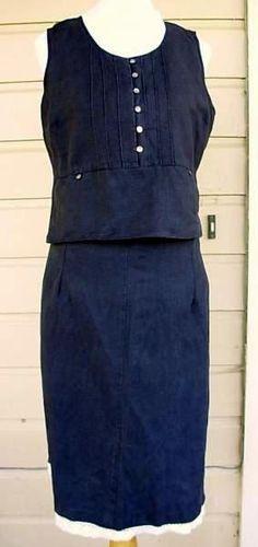 Black linen dress. two piece dress bust 40 hip 42 lace hem